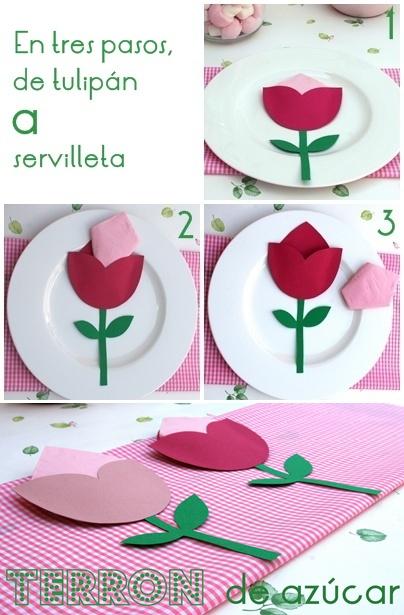 Manualidades con niños… un servilletero-tulipán