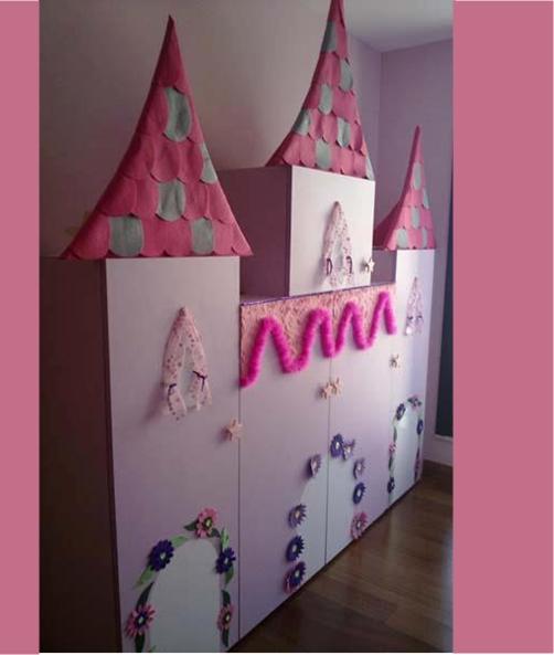 Muebles infantiles transformados en un castillo medieval