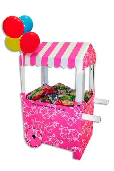 Carritos de cartón para chuches… ¡Una nota original para tus fiestas infantiles!