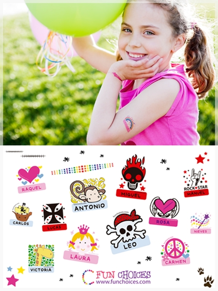 Tatuajes personalizables para niños
