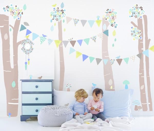 Vinilos de tela para una habitación infantil.
