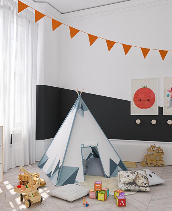 Habitación infantil ecléctica en negro y naranja