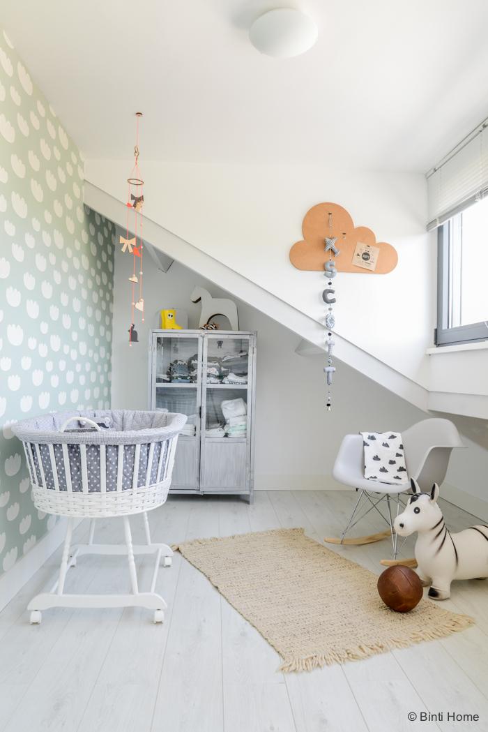 Dulce Dormitorio de Bebé en Azul y  Gris