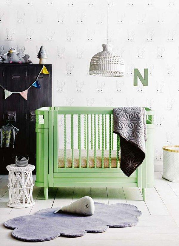 Habitaciones de bebé en tonos verdes