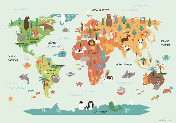 Mapa Del Mundo Infantil.Laminas Mapamundi Para Ninos Decopeques