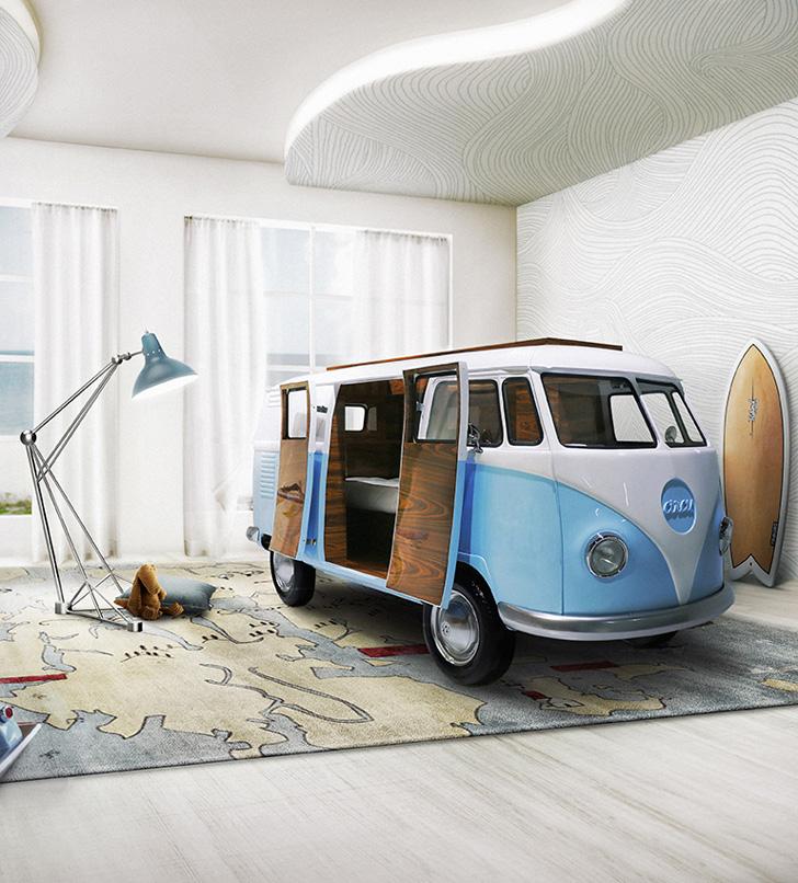 Cama-furgoneta con espíritu hippie para niños