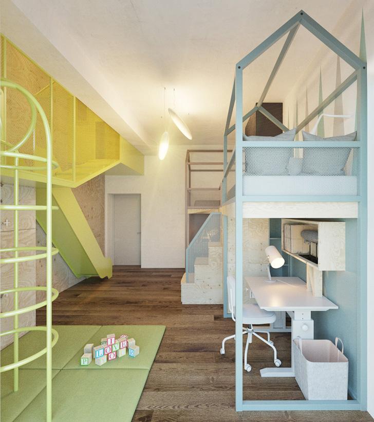 Habitación infantil de diseño ¡Con tobogán incluido!
