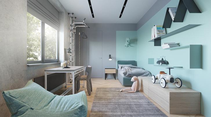 Habitación infantil de diseño para niños activos