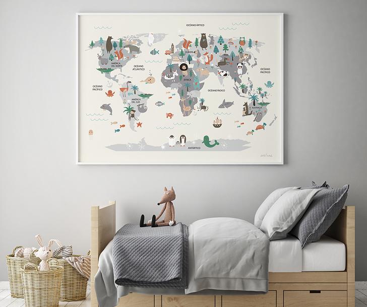 Promoción en las láminas infantiles mapamundi de Menudos Cuadros