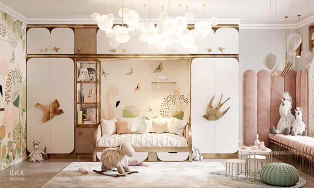 Un dormitorio infantil rosa empolvado y lleno de sorpresas