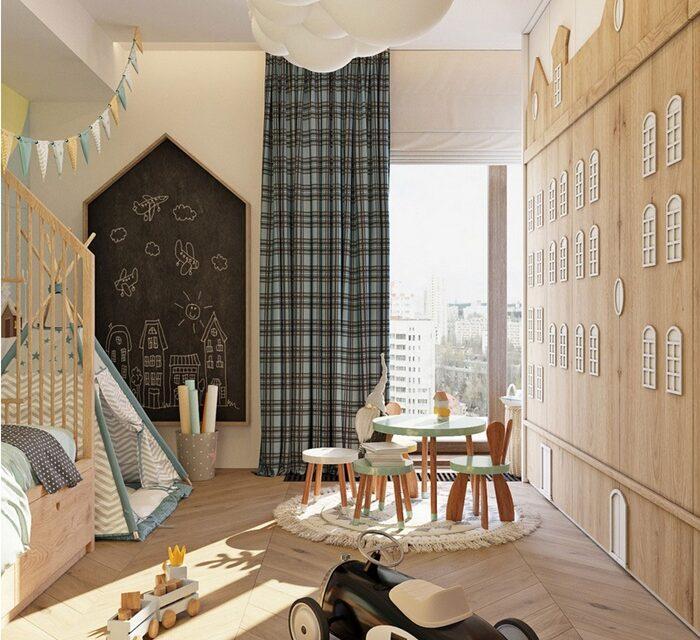 Dormitorio infantil con madera por todas partes