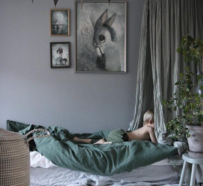 Habitaciones infantiles en gris y verde