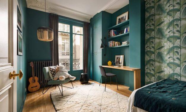 Tres habitaciones infantiles en verde