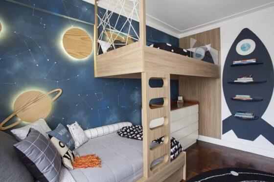 Un dormitorio infantil espacial