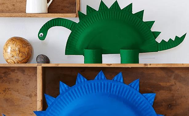 Manualidades: dinosaurios con platos de papel